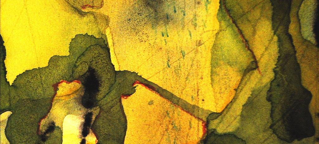 Abstraktes Bild mit Tusche und Buntstift